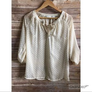 Liz Claiborne cream polka dot sheer tunic, size S